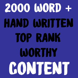 2000 Words Plus Hand Written Top Rank Worthy Content Service