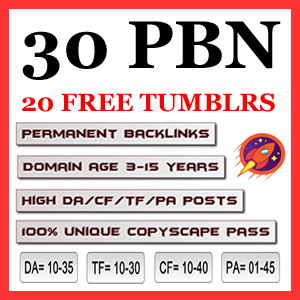 30 Quality PBN Backlinks with 20 FREE high page authority Tumblr Backlinks